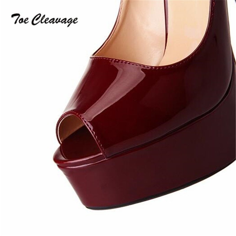 c7fa6701ed Toe Cleavage stilettos RED wedding shoes woman sexy 16cm Thin Heels Peep  Toe Platforms Crossdresser Pumps Plus:40 45 46 47 48-in Women's Pumps from  Shoes on ...