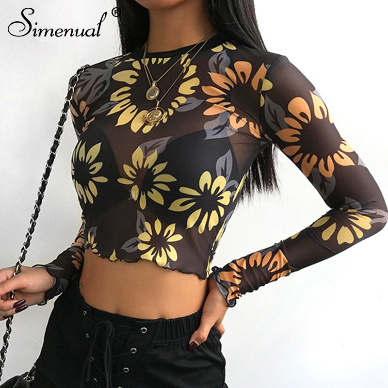 mesh hollow out t shirt women long sleeve crop top (4)