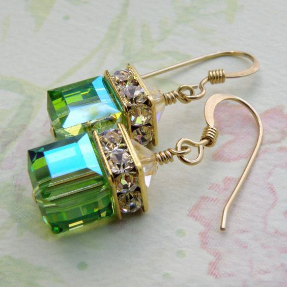 Gold Color Square Cubic Zirconia Dangle Earrings for Women G