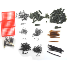 MNFT 1Set Assorted Carp Fishing Accessories With Tackle Box  Clips Hooks,Rubber Tubes, Swivels, Sleeves,Lead sinkers Super Deal!
