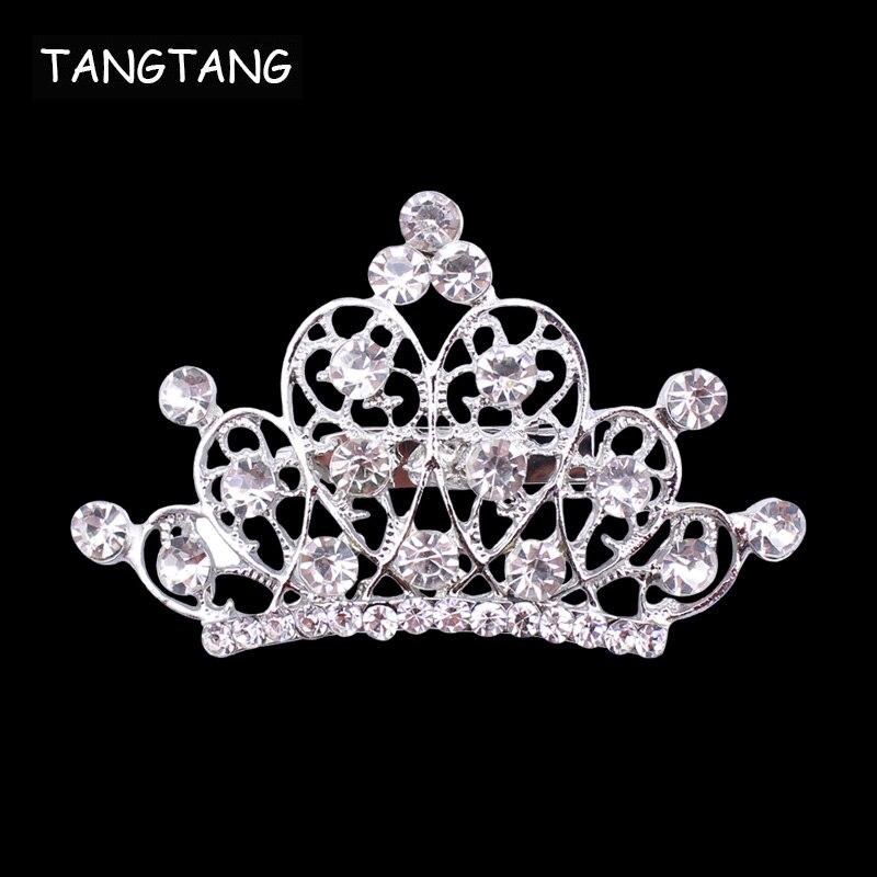 Bh8310 Silber Ton Strass Klassische Crown Brosche Hohl Schmuck Pin Für Hochzeit Zubehör Mode Trendy Pullover Ornamente Schmucksets & Mehr