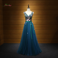Dream Angel Luxury V Neck Embroidery Long Evening Dresses 2017 Flowers A Line Formal Dress For