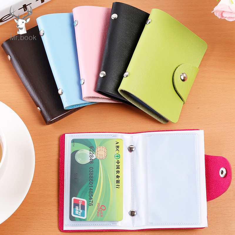 Credit Card Holder 24 Bits Card Case Random Color Korean Style Portable Business ID Name Card Organizer Holder For Plastic Cards