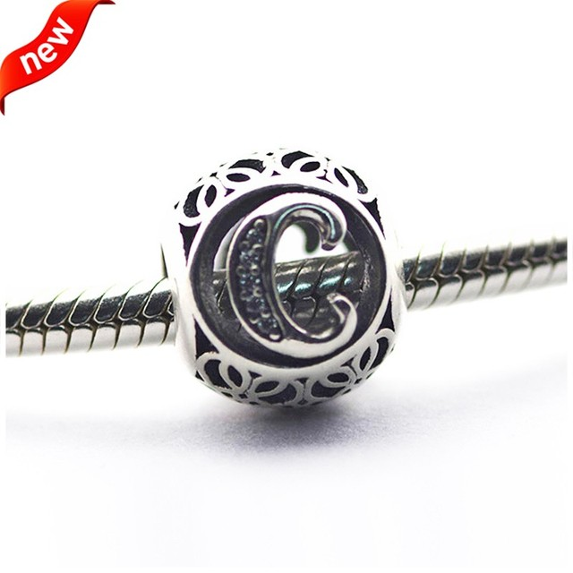 Fits Pandora Bracelets Alphabet Charms Beads For Jewelry Making Letter C Charm 925 Sterling Silver