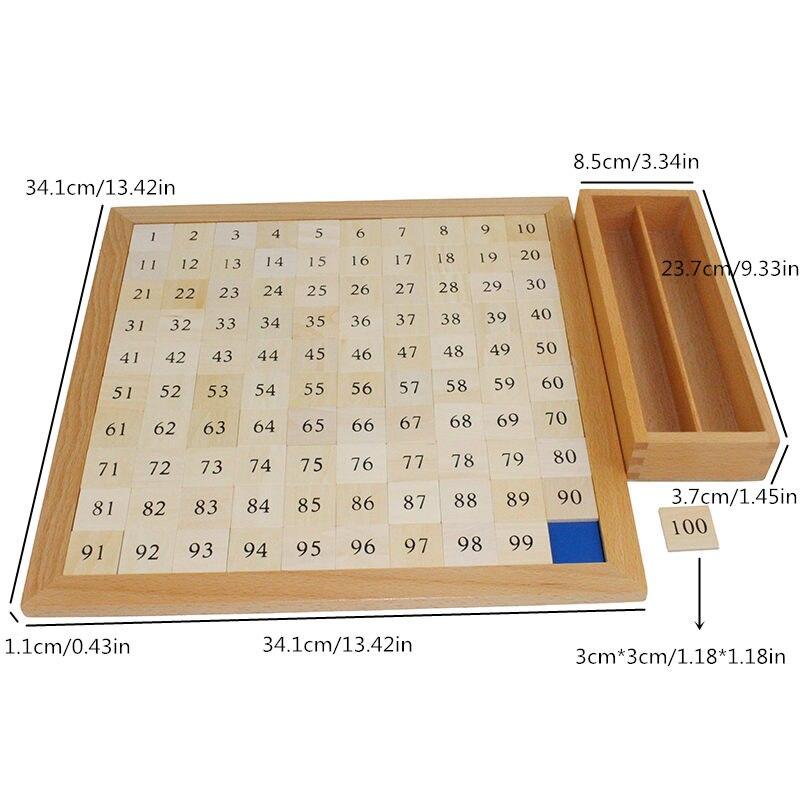 Montessori bébé jouets mathématiques apprentissage éducation jouets cent conseil mathématiques 1 à 100 numéros consécutifs avec tableau de contrôle - 6