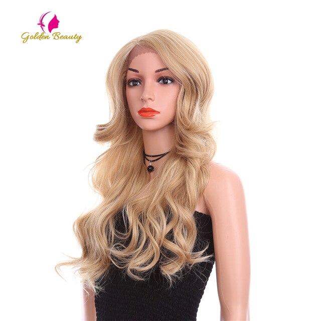 זהב יופי 24 אינץ Loose גל פאה ארוך שיער סינטטי תחרה מול פאות צד חלק Ombre חום בלונד קוספליי פאות עבור נשים