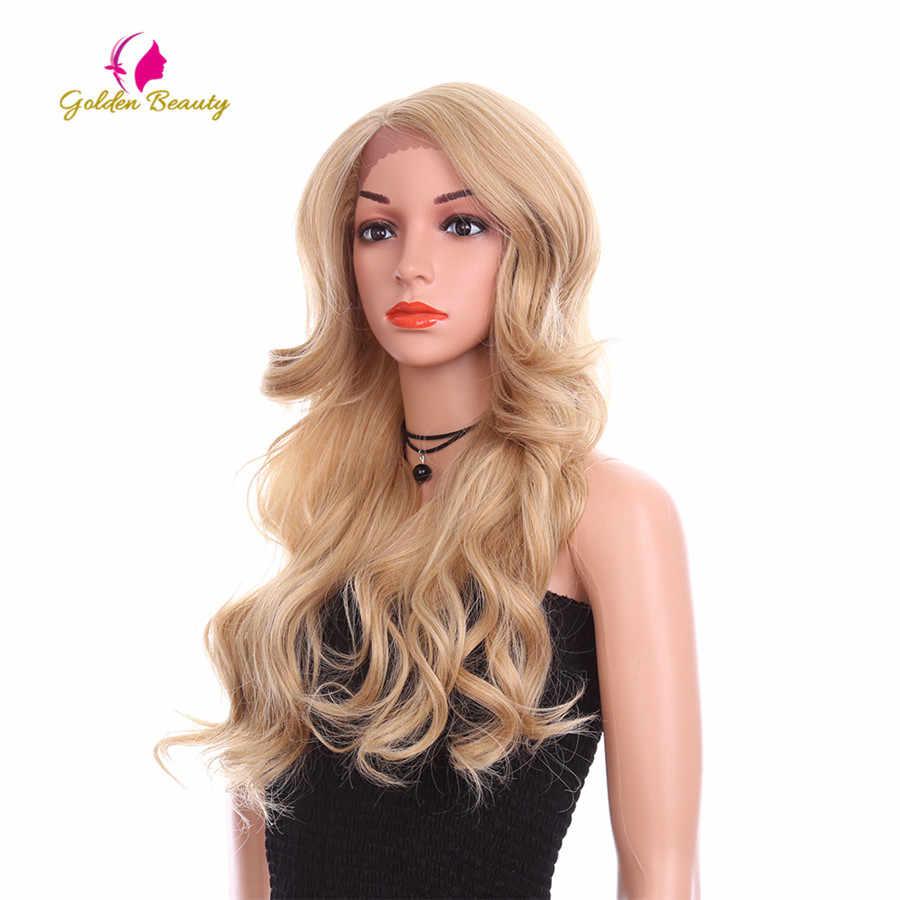 Золотой Красота 24 inch свободная волна парик Длинные Синтетические волос Синтетические волосы на кружеве парики боковой части Ombre коричневый блондинка Косплэй парики для для женщин