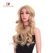 الذهبي الجمال 24 بوصة فضفاض موجة شعر مستعار طويل الاصطناعية الشعر الدانتيل الجبهة الباروكات الجانب جزء أومبير براون شقراء تأثيري الباروكات للنساء