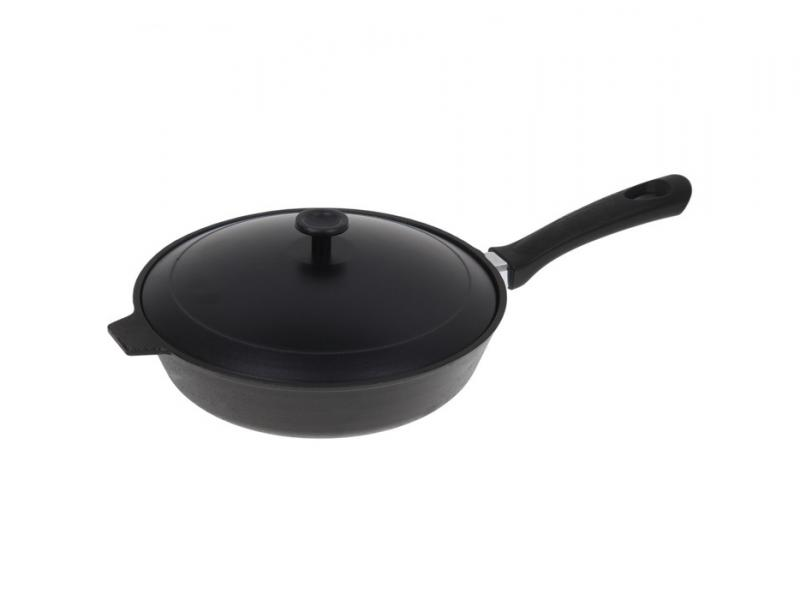 Frying Pan Камская tableware, 28 cm, with Bakelite handle, with cover frying pan нева metal tableware cast scandinavia grey 26 cm