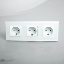 Free shipping , EU Triple Power Socket Schuko, White Crystal Glass Panel, 16A EU Standard Wall Outlet KP003EU-W