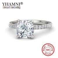 YHAMNI 100% оригинал 925 Серебряное кольцо Топ 5A циркония SONA камень Обручальные кольца подарок для женщин YZK002