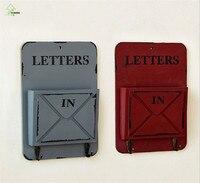 YIHONG retro Caixa de Montagem Na Parede caixa De letras De Madeira para a chave titular ganchos organizadores de Parede Prateleiras de armazenamento 2 ganchos de Suspensão