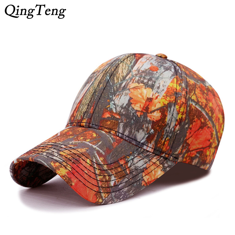 Orange Maple Leaf Camo   Cap   Men Outdoor Brand   Baseball     Caps   For Male Jungle Camouflage Hunting Bone Strapback Fishing Dad Hat