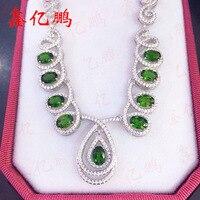 Diopside הטבעי אוצר יקר 925 כסף משובץ ירוקה פנינה נשי תליון שרשרת מתנת יום הולדת