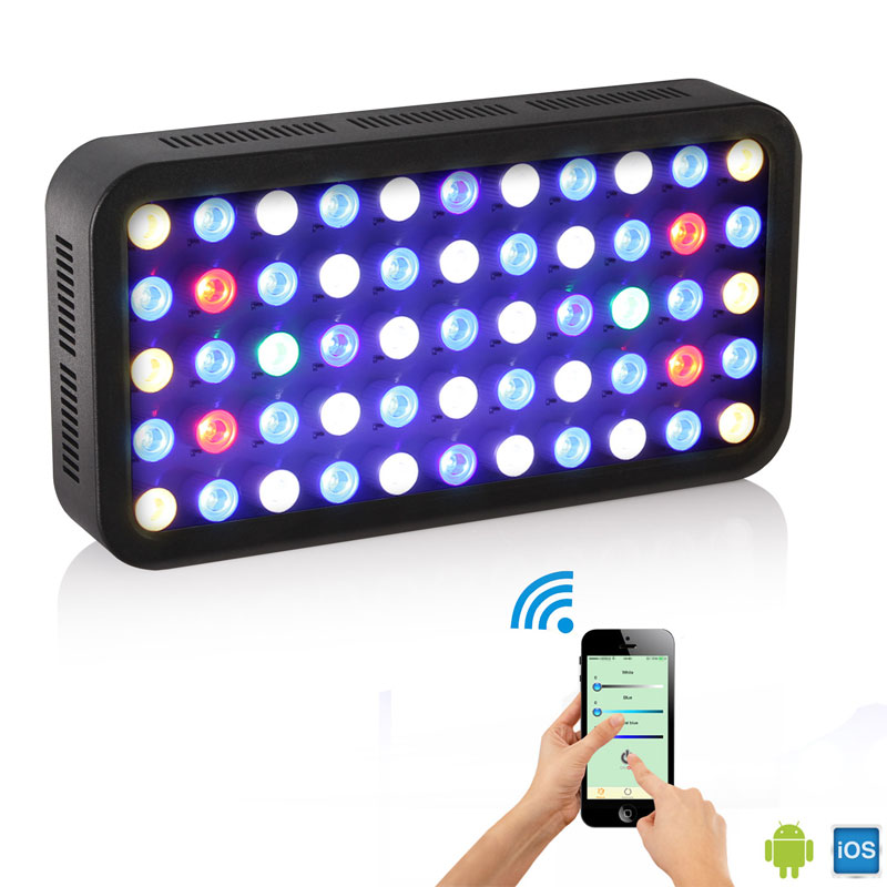 LED Aquarium Light Wifi 165W Dimmable Fish Tank LED With Hangers Full Spectrum Lighting For Fish Freshwater And Saltwater Coral