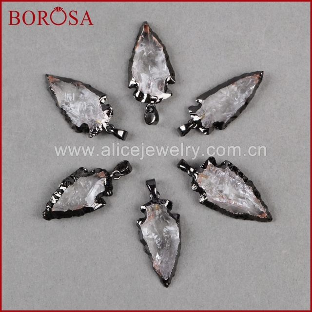 Borosa fashion arrow pendants new crystal quartz arrowhead pendants borosa fashion arrow pendants new crystal quartz arrowhead pendants black gun metal color quartz druzy aloadofball Choice Image