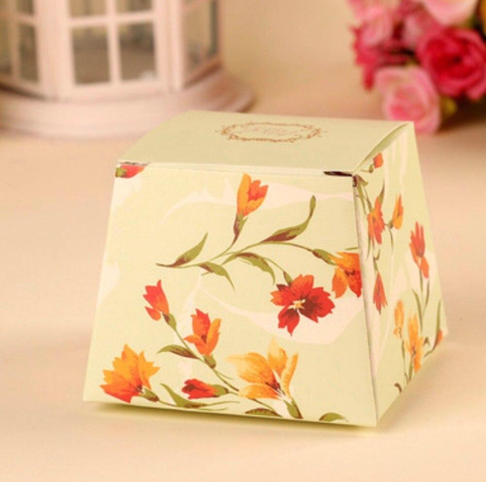 100pcs Blue/Green/Pink /Purple wedding candy box chocolate cake box ...