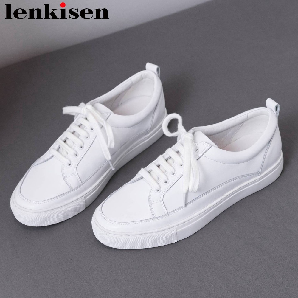 Lenkisen brand classic white sneakers full grain leather lace up round toe low bottom casual wear