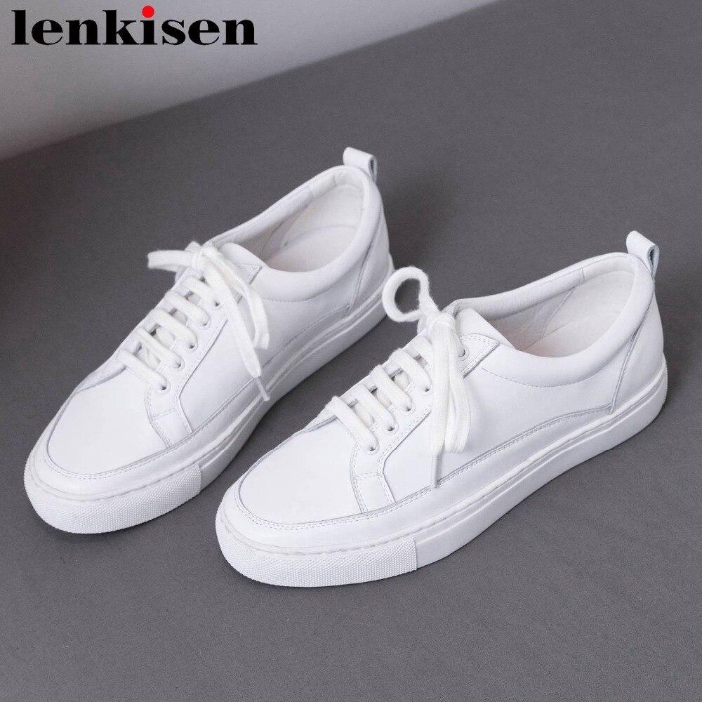 Zapatillas blancas clásicas de marca Lenkisen de cuero de grano completo con cordones de punta redonda ropa casual de Mujer Zapatos vulcanizados L31-in Zapatos vulcanizados de mujer from zapatos    1