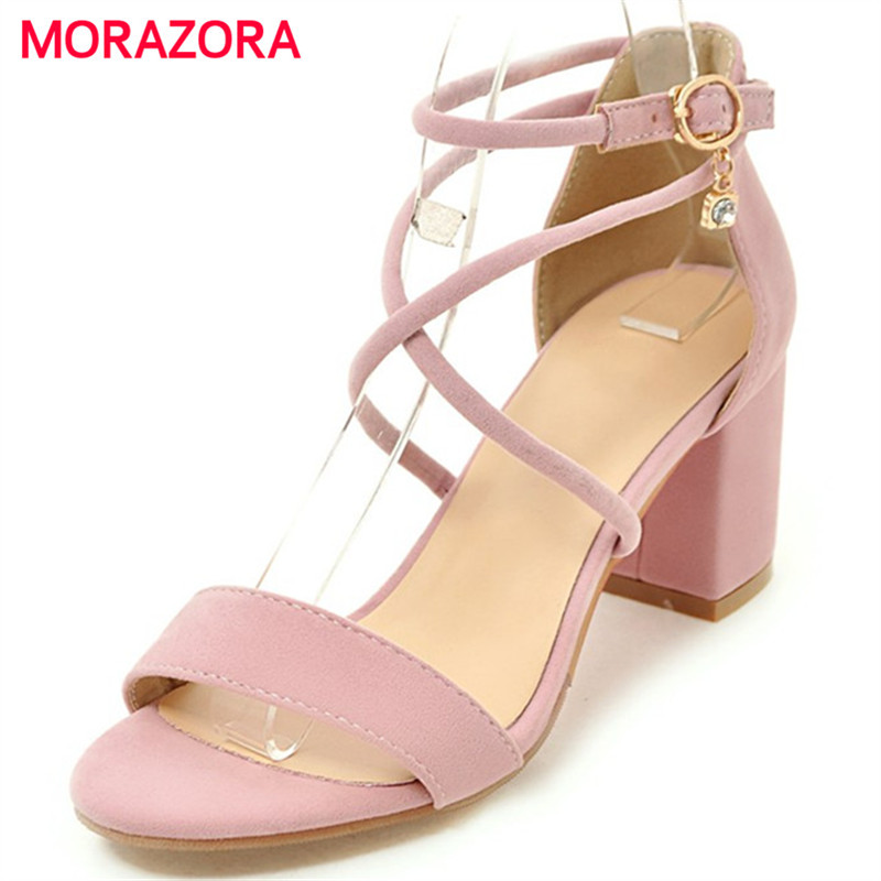 MORAZORA Three colors women shoes sandals fashion elegant high heels shoes solid buckle open-toed large size shoes 34-45MORAZORA Three colors women shoes sandals fashion elegant high heels shoes solid buckle open-toed large size shoes 34-45