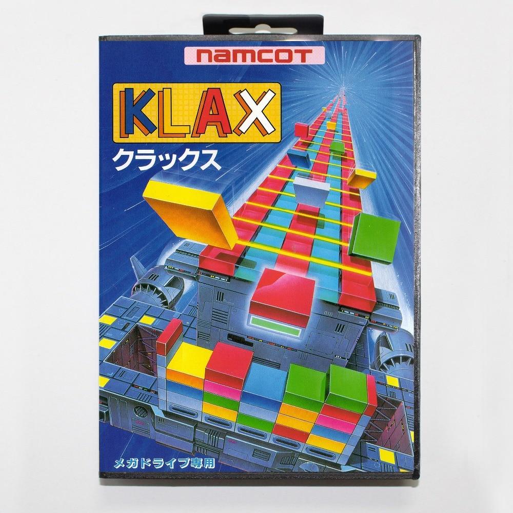 16 bit Sega MD game Cartridge with Retail box – Klax game cart for Megadrive for Genesis system