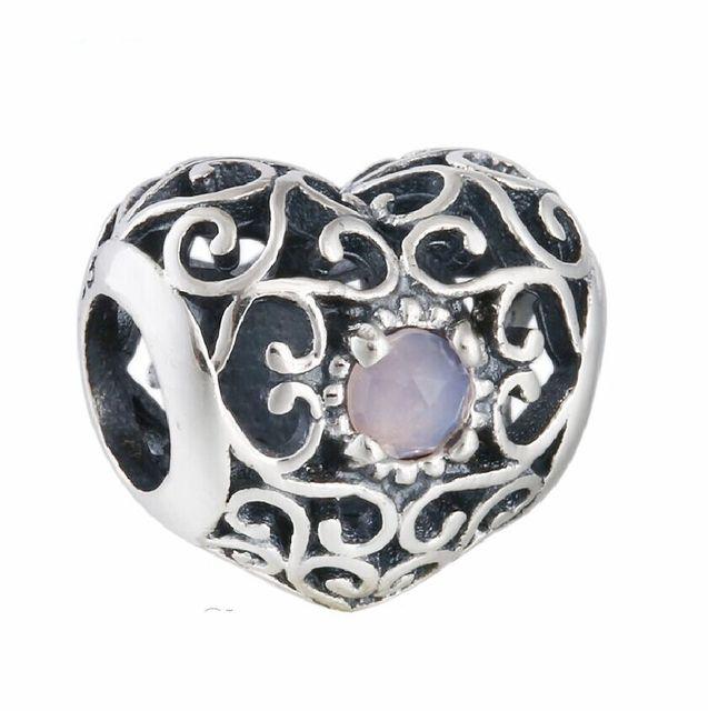 Fit Pandora Bracelet Pink Crystal October Signature Openwork Heart Birthstone  Charm Beads 925,Sterling,