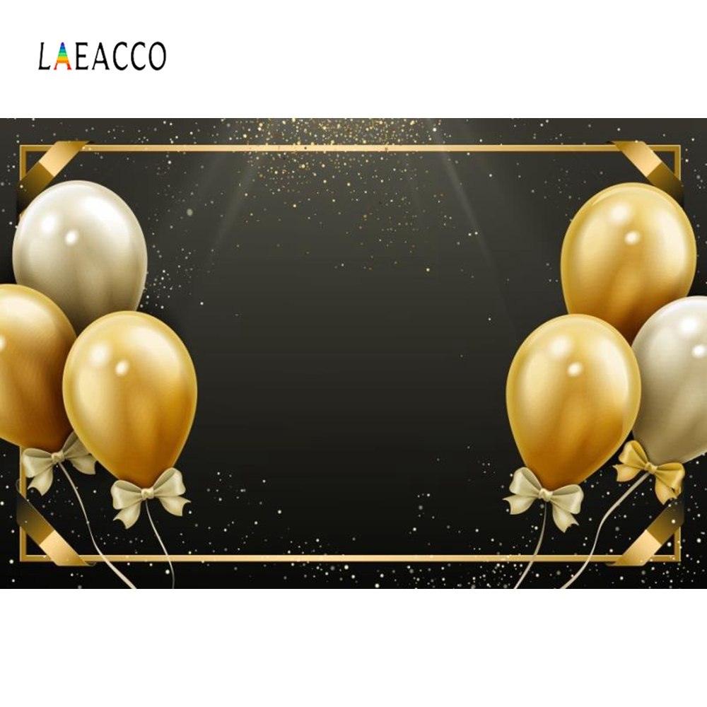 Laeacco Golden Gray Balloons Party Backdrop Portrait Photography Backgrounds Customized Photographic Backdrops for Photo Studio