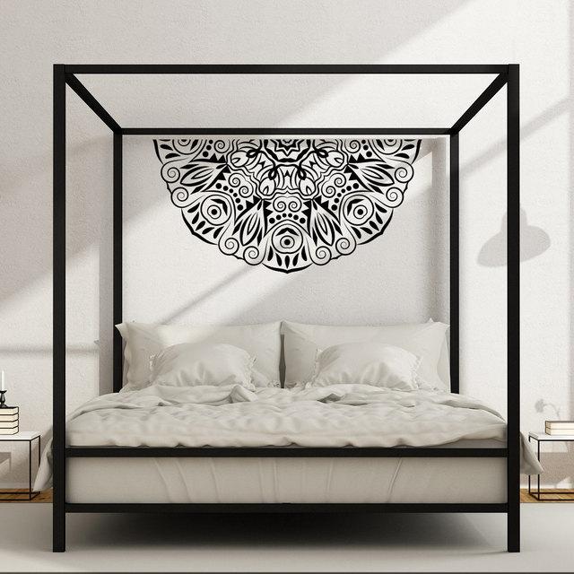 Half Mandala Flower Wall Decal Master Bedroom Vinyl Headboard Hippie Style  Stickers Bohemian Removable Zen Art