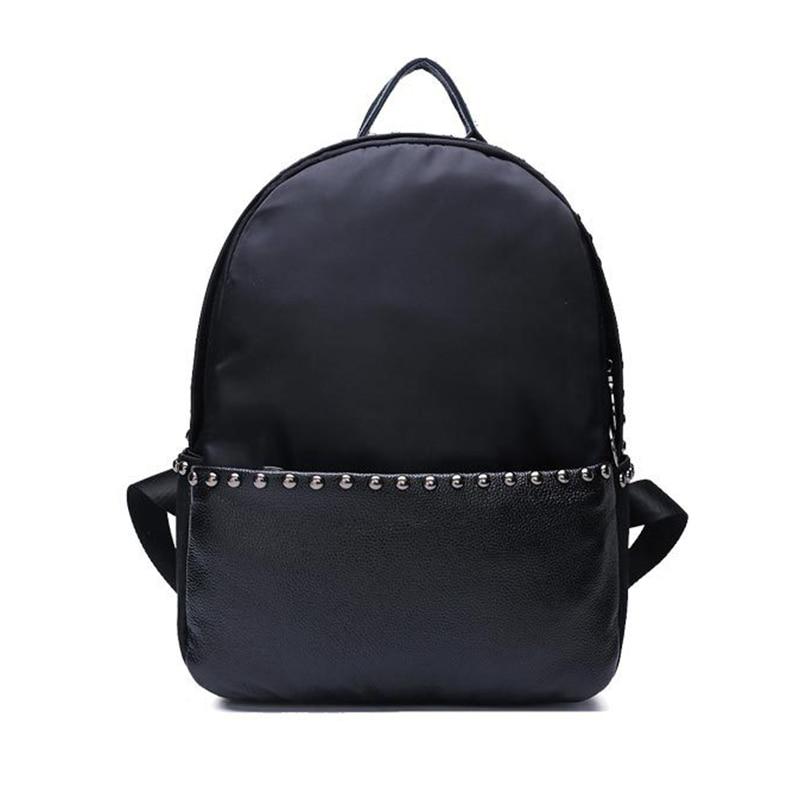 ФОТО Large Capacity Rivet Black Shoulder Bag Women Casual Backpack Teenage Girls School Travel Bags