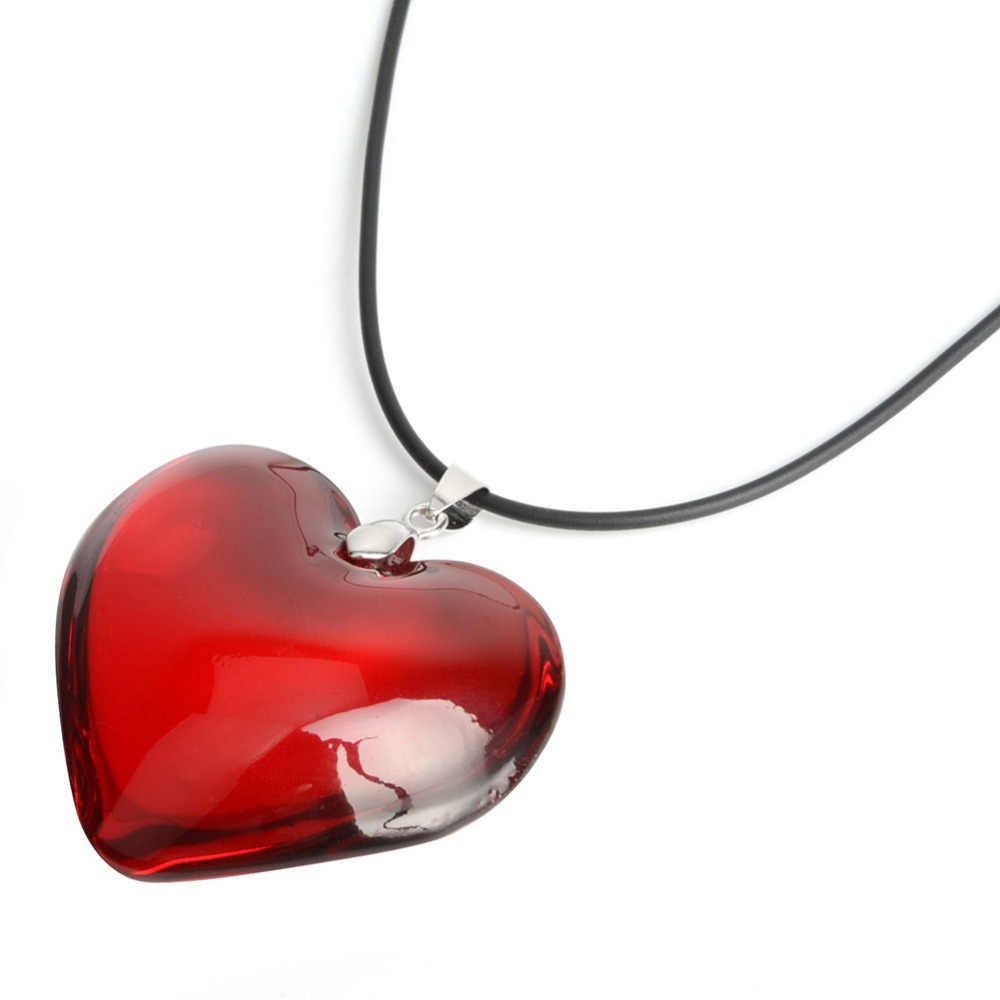 "43mm Red Love Heart Crystal Bead Lover Girl Gift Pendant Necklaces 15"" FASHION necklace women halsketting sautoir Halskette"