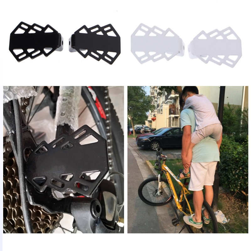 1 Pair Folding Axle Metal Foot Pegs Rear Seat Bicycle Pedal Stand Mountain Bike