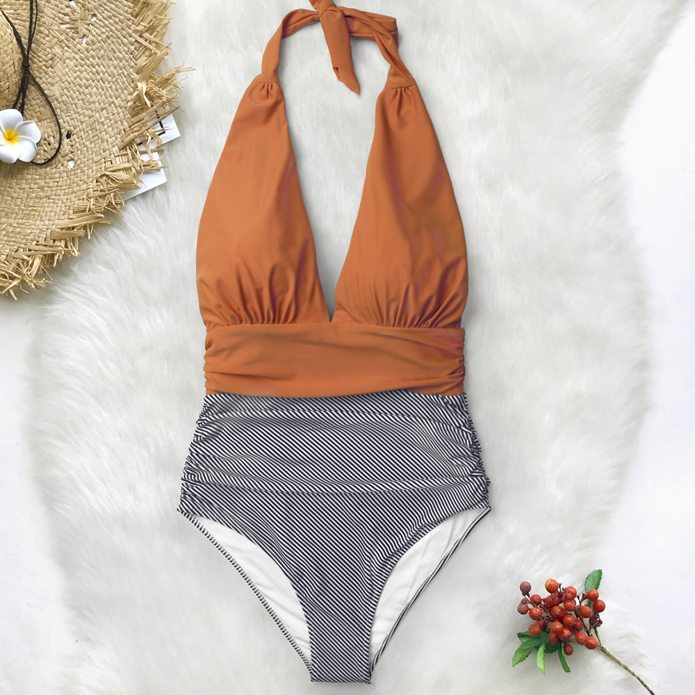 Deep V Neck Backless One-piece Swimsuit