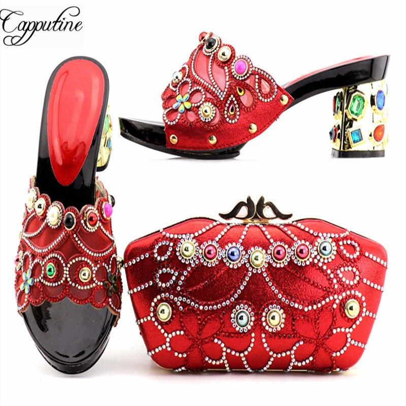 verde Elegante rojo Llegada Zapatos Bolsa Capputine El Negro Tacones Para oro Últimas Venta Nueva Y En Rhinestone Partido Altos ACTqRwT