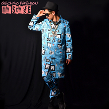 S-5XL 2017 New Men's clothing Singer fashion slim DJ long Doodle shirt plus size Men shirts singer stage costumes
