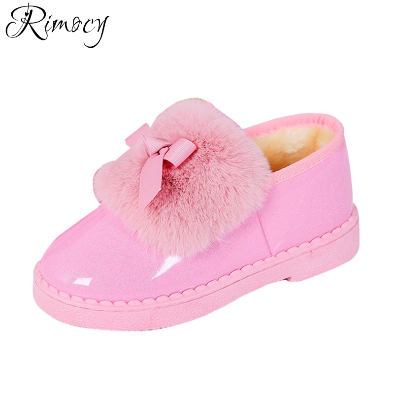 Rimocy lovely bowtie pink glitter patent leather waterproof snow boots women winter thick fur warm plush ankle boots shoes woman