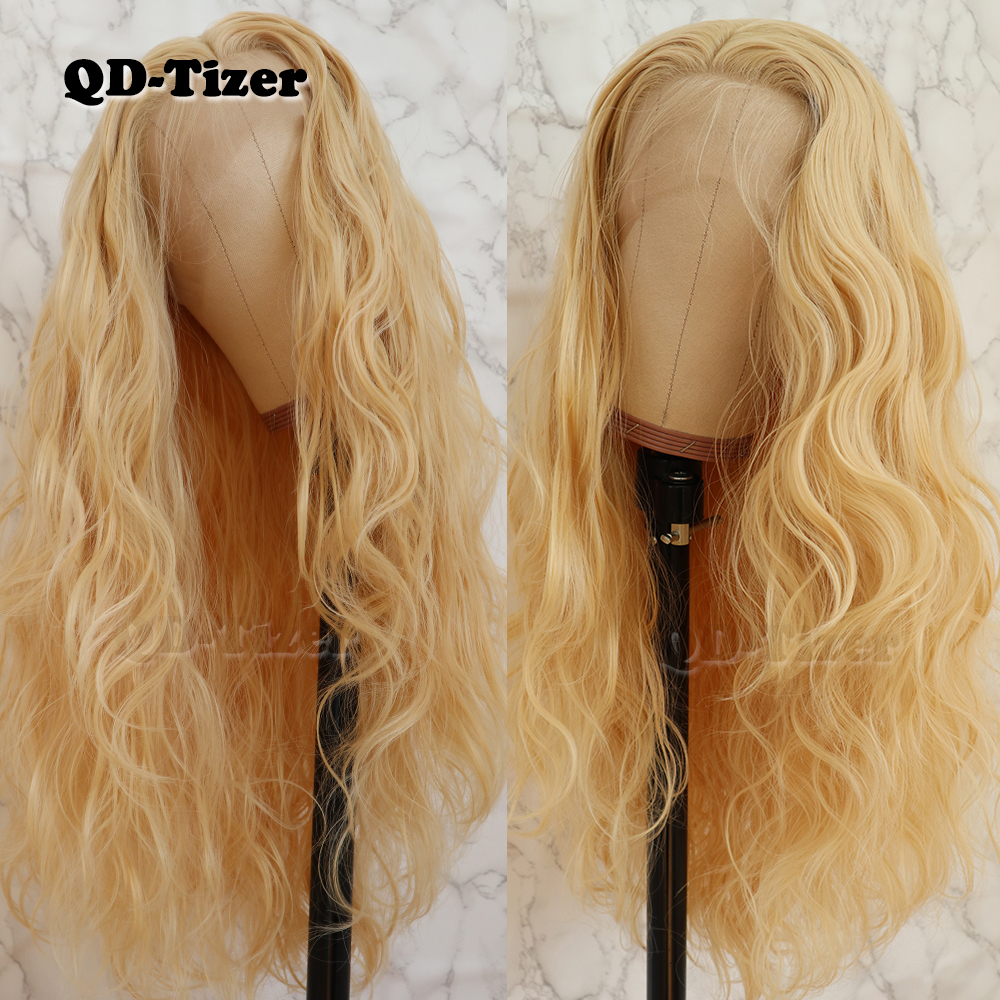 QD Tizer 613 color Wave Hair with Baby Hair FreePart Glueless Heat Resistant Synthetic Lace Front