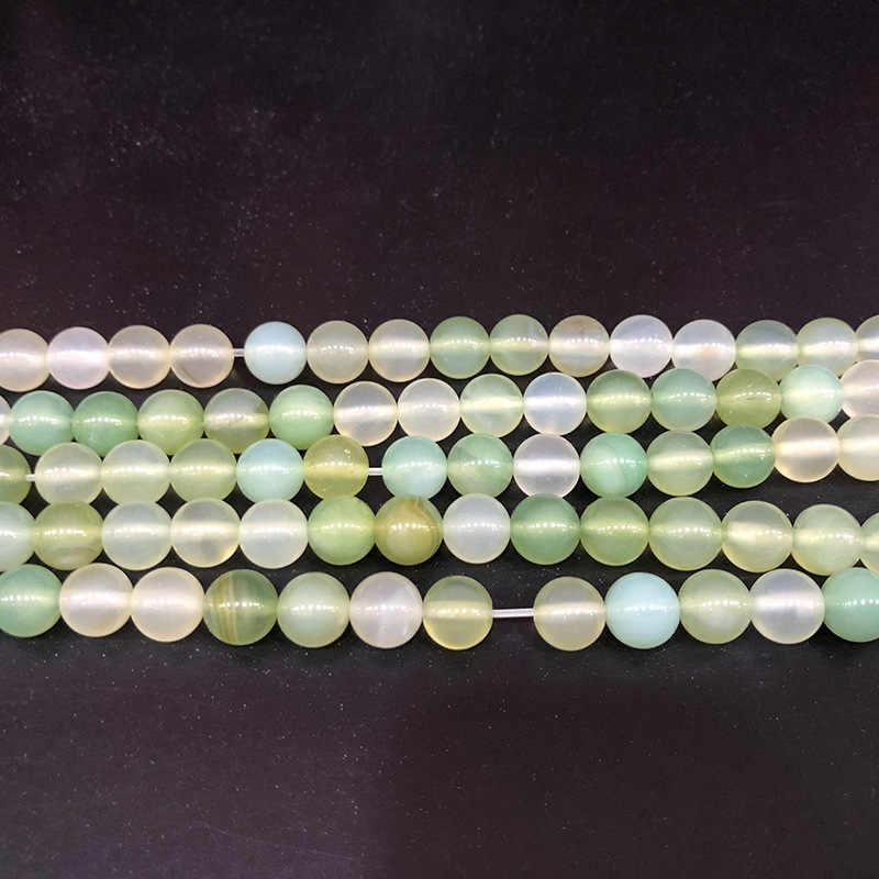 สีเขียว 4 6 8 มิลลิเมตร Onyx Agat ลูกปัดหินธรรมชาติลูกปัดรอบควอตซ์ลูกปัดสำหรับเครื่องประดับ DIY ทำ