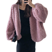 Winter Warm Women Lamb Jackets and Coat Fashion Streetwear Lantern Sleeve Plush Short Coat Autumn Female Loose Fur Outerwear