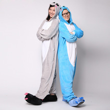 Blue Gray Koala Pajamas Animal Party Cosplay Costume Flannel Adult Onesies Jumpsuit Cartoon Animal Sleepwear