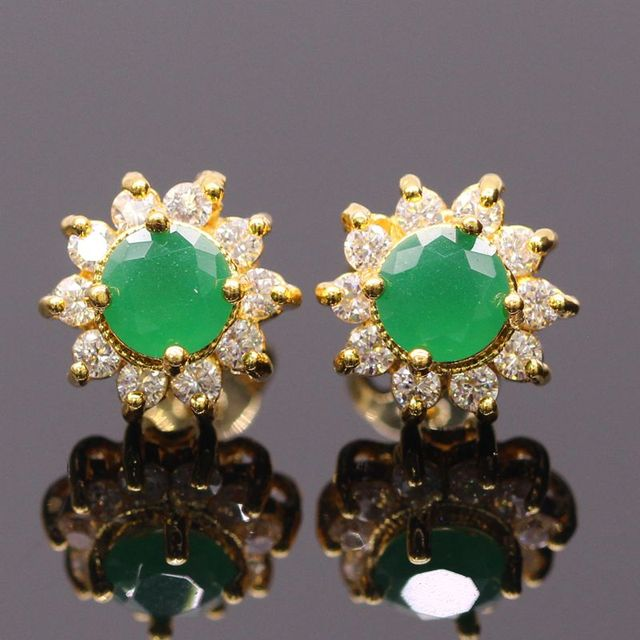 Jy Fashion Jewelry Yellow Green Stone Gold Color Earrings For Women Crystal Zircon Attractive Stud