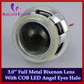 Full Metal 3.0 Hella дюйм(ов) Q5 H4 COB Angel Eyes Halo HID Биксенон Фара Объектив Проектора Фары, использовать D2S/D2H Лампы