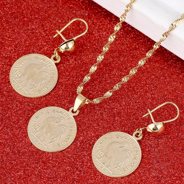 Franc Coin Pendant Necklaces Women Men France Lecoqgaulois Gold Color Old French Jewelry