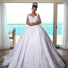 Excellent Lace Ball Gown Appliqued Wedding Dress Sofuge