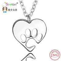 925 Sterling Silver Dog Tag Heart Necklaces Pendants Hollow Out Dog Paw Necklace For Women Heart
