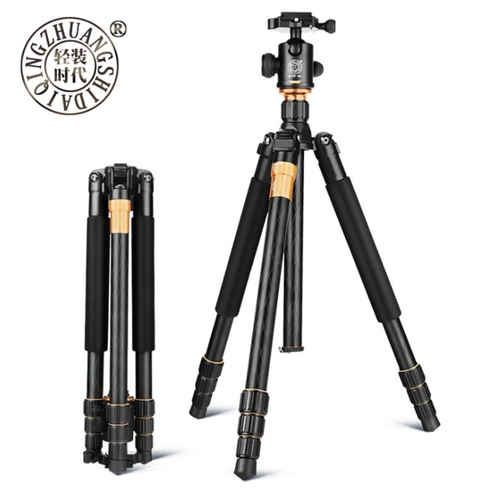 QZSD Q999 Professional Tripod Photographic Portable Magnesium Aluminium Alloy Tripod Monopod Stand Ball head For DSLR Camera free shipping qzsd q999 portable tripod