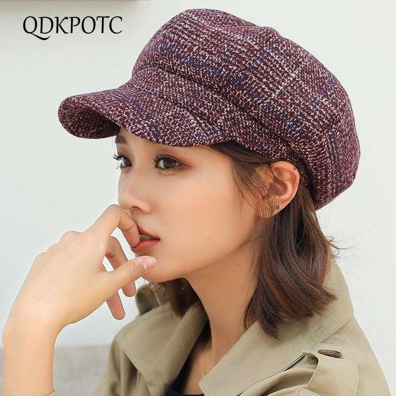 قبعة صوف كلاسيكية جديدة لخريف وشتاء 2018 من QDKPOTC قبعة موزع الصحف قبعة منقوشة عالية الجودة قبعات مثمنة لأوقات الفراغ للسيدات