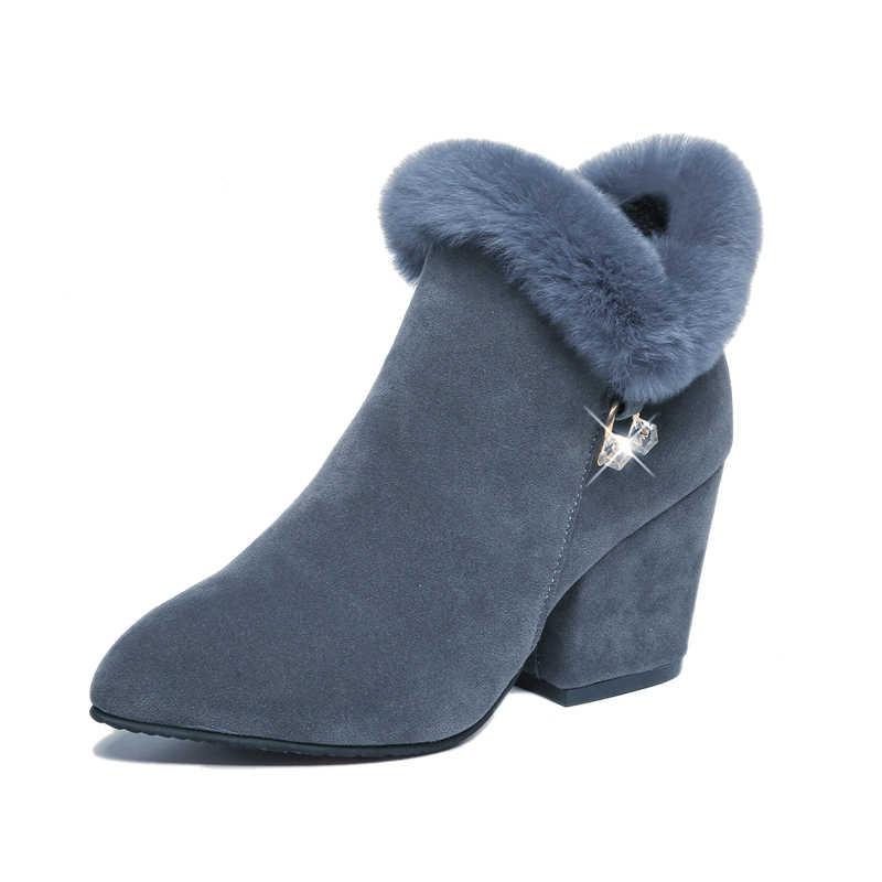SLYXSH 2018 รองเท้าผู้หญิงฤดูหนาวรองเท้าผู้หญิงรองเท้ารองเท้าสแควร์รองเท้าส้นสูงชี้ Toe Faux ขนสัตว์แฟชั่นหรูหราสุภาพสตรี Boot สีดำ