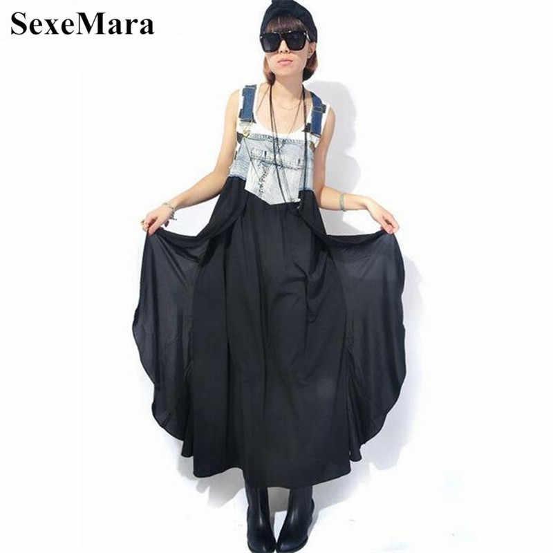 2019 Макси платье женское летнее джинсовое шифоновое лоскутное платье на бретелях женское асимметричное платье большого размера Vestido Longo