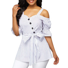 5505ac316b8 Womens Tops and Blouses 2018 Feminina Streetwear Striped Button Long Sleeve  Shirts Tunic Cold Shoulder Clothes