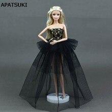 b3e52f1c4d5a7 Siyah Barbie Prenses Düğün Elbise Asil Parti Için Bebek Giysileri Barbie  Doll Moda Tasarım Kıyafet Için En Iyi Hediye Doll